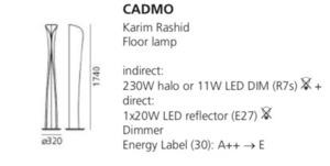 Lampa podłogowa Artemide Cadmo Terra biała  small 1
