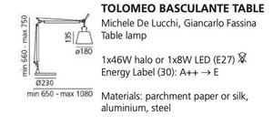Lampa biurkowa Artemide BASCULANTE (Abażur pergaminowy) small 1