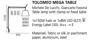 Lampa zaciskowa biurkowa Artemide TOLOMEO Mega (klosz pergaminowy ø32cm) small 1