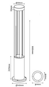 Szary metalowy słupek oświetleniowy LED Windmill Post 80cm 10W 4000K small 1