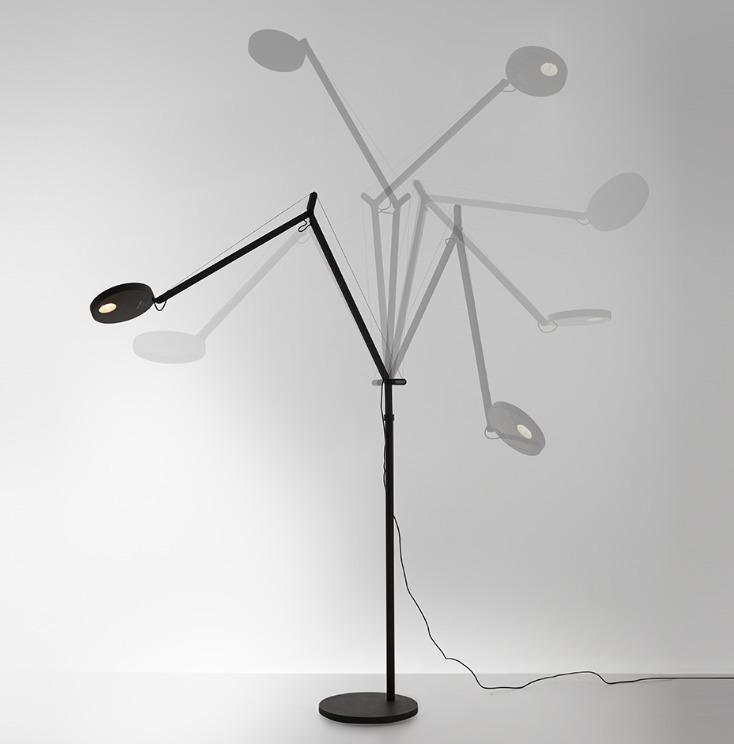 Lampa podłogowa do czytania Artemide DEMETRA czarny połysk 3000K/2700K