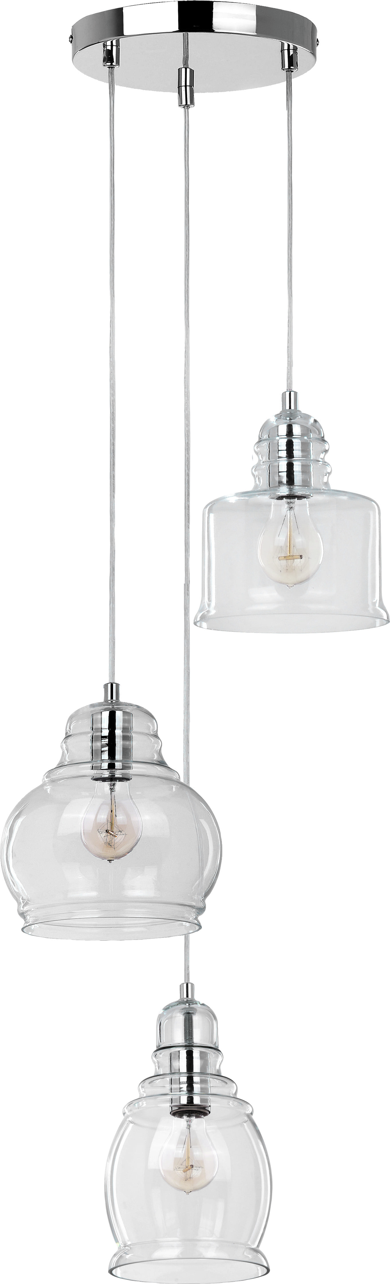 Lampa wisząca 3-punktowa Nova szklane klosze