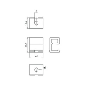 Wspornik sufitowy do zawieszeń, szynoprzewody STUCCHI, aluminium small 1