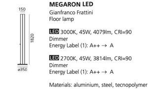 Lampa podłogowa Artemide MEGARON srebrna 3000K/2700K small 1