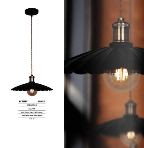 Czarna Loftowa Lampa wisząca Herbert 35cm