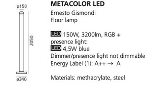 Lampa podłogowa Artemide METACOLOR LED RGB small 1