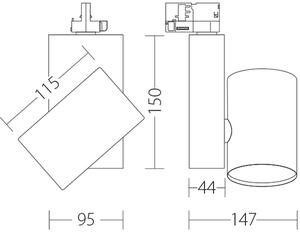 Reflektor punktowy KOR Quattrobi aluminium 32W 3000K CRI 93 kompatybilny z szynoprzewodami marki Stucchi small 1