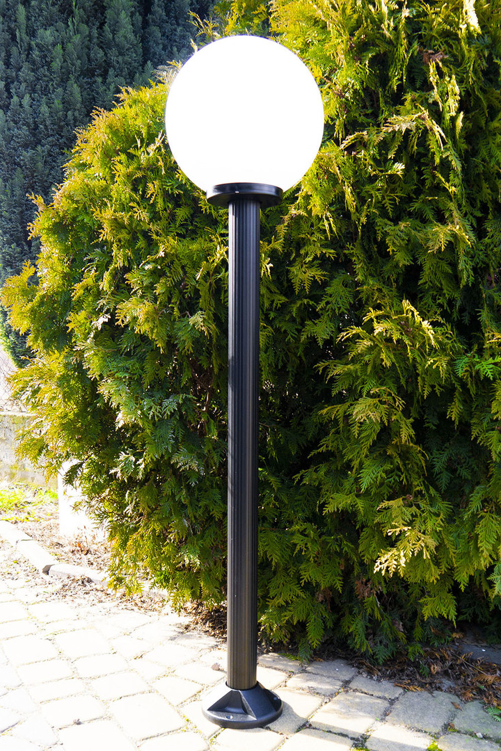Lampa ogrodowa stojąca Moon lamp biała 20 cm E27 czarny słupek 100 cm