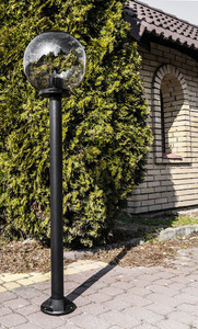 Lampa ogrodowa stojąca Moon lamp przydymiona 20 cm E27 czarny słupek 100 cm small 2