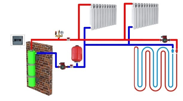 An example of an induction boiler installation diagram - Lunares.pl