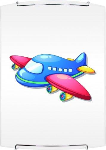 Lampa dla dziecka Samolot - kinkiet Jet biały/ chrom 60W E27