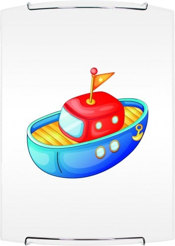 Lampa dla dziecka Łódka - kinkiet Boat biały/ chrom E27 60W