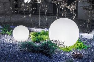 Kula Dekoracyjna Biała Połysk - Luna Ball 40 cm wraz z zestawem montażowym, kabel 3m, słupek mocujący small 5