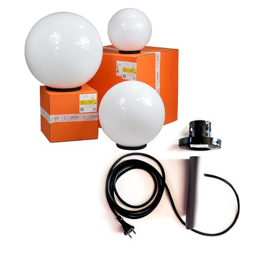 Zestaw kul dekoracyjnych - Luna Ball 20, 30, 40 cm wraz z zestawem montażowym, kabel 3m, słupek mocujący