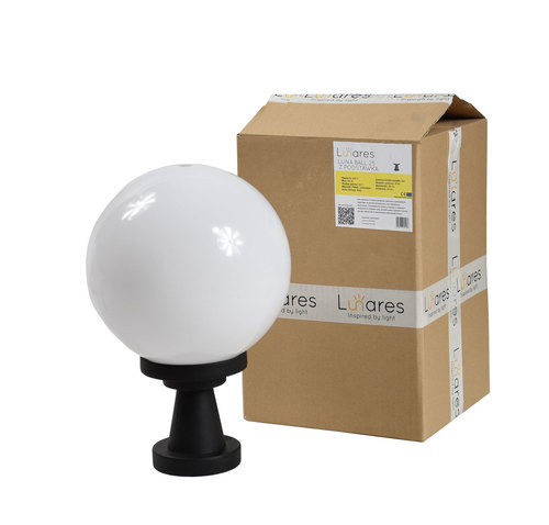 Lampa ogrodowa stojąca Luna Ball Plinto 25 cm E27 LED biała cokół