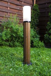 Słupek oświetleniowy Luna Torch 85 cm E27 drewniany biały klosz small 3
