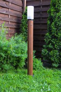 Słupek oświetleniowy Luna Torch 127 cm E27 drewniany biały klosz small 1