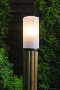 Słupek oświetleniowy Luna Torch 127 cm E27 drewniany biały klosz small 2
