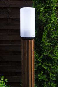 Słupek oświetleniowy Luna Torch 127 cm E27 drewniany biały klosz small 3