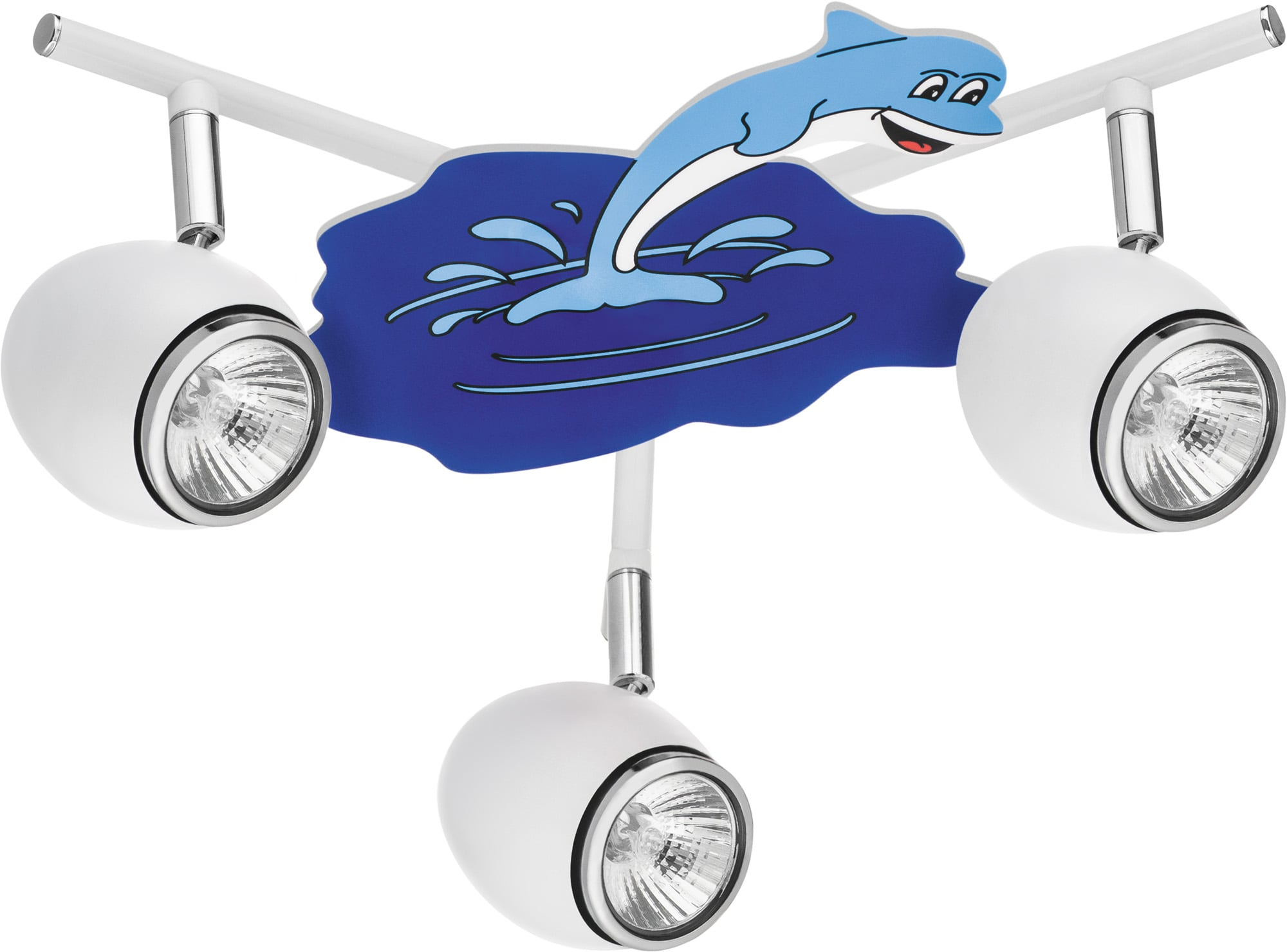 Lampa dla dziecka Delfin biały/ chrom 3x50W GU10
