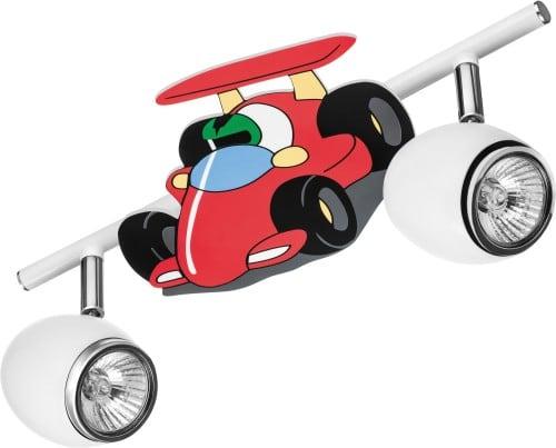 Lampa dla dziecka Samochód wyscigówka - Car biały/ chrom 2x50W GU10