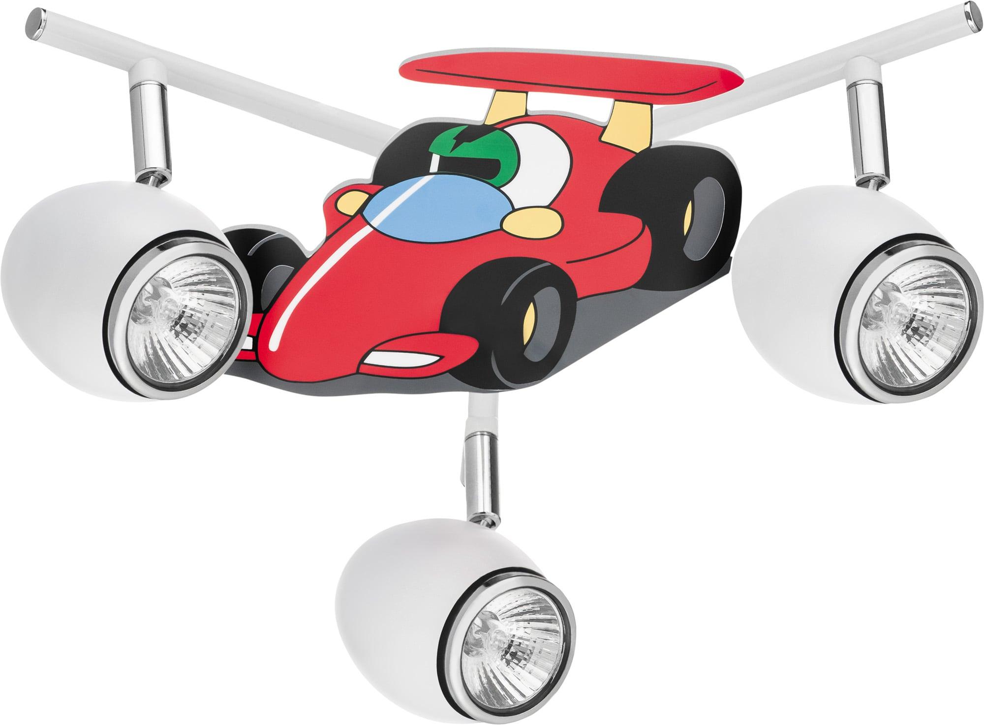 Lampa dla dziecka Samochód wyścigówka - Car biały/ chrom 3x50W GU10