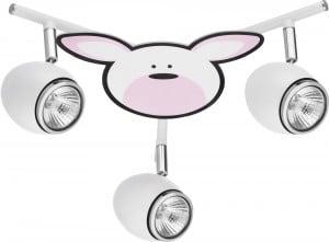 Lampa dla dziecka Królik - Rubby biały/ chrom 3x50W GU10