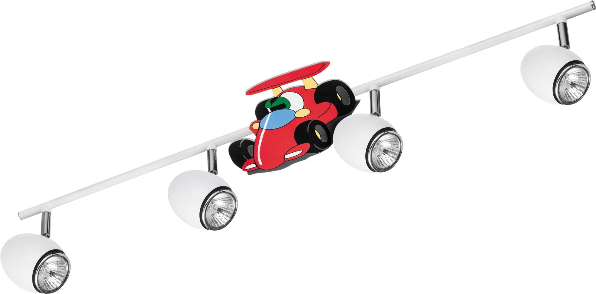 Lampa dla dziecka Samochód wyścigówka - Car biały/ chrom LED GU10 4x4,5W