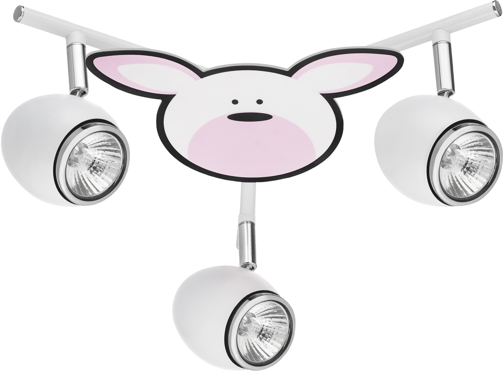 Lampa dla dziecka Królik - Rubby biały/ chrom LED GU10 3x4,5W