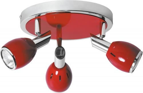 Czerwona Chromowana Lampa Sufitowa Colors LED GU10