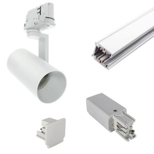 Gotowy do montażu zestaw szynoprzewód 3 fazowy 1m 2 lampy GU10 LED 10W  czarny lub biały