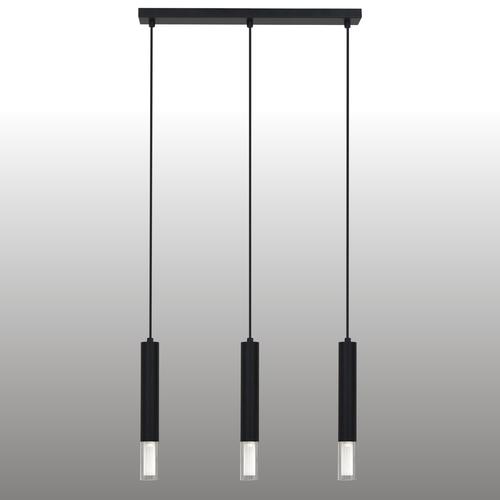 Czarna lampa wisząca Kuga 3 M listwa