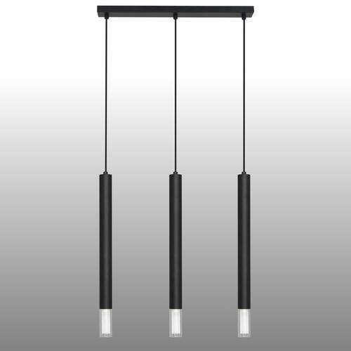 Czarna lampa wisząca Kuga 3 XL listwa