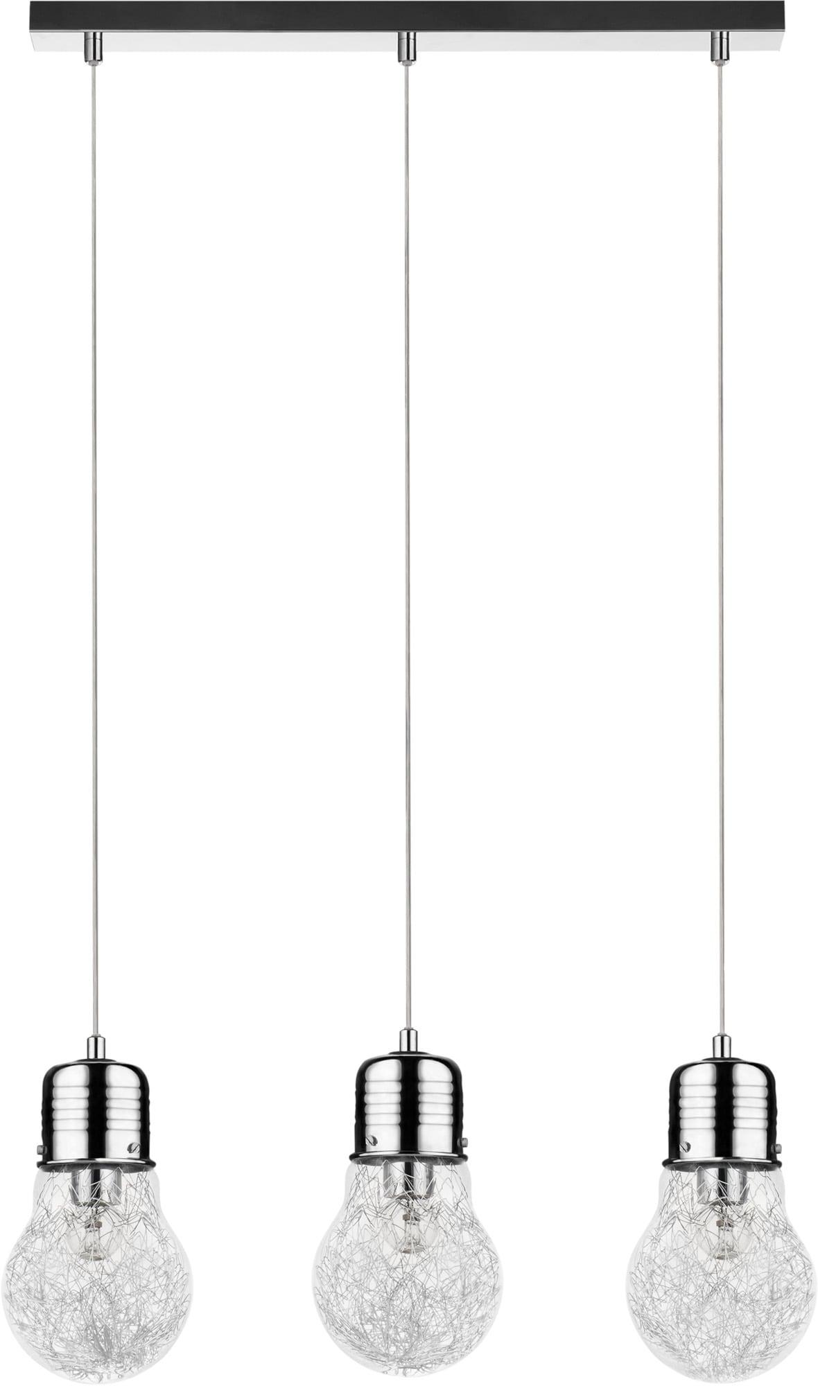 Lampa wisząca potrójna Bulb chrom E27 60W