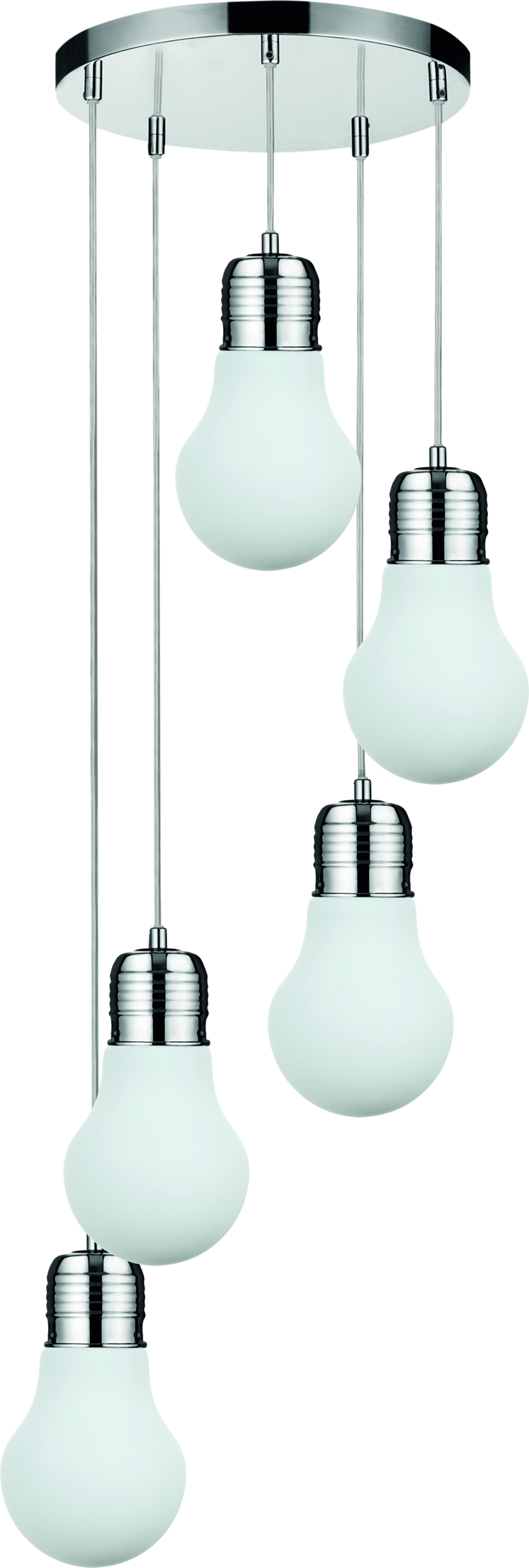 Pięciopunktowa loftowa Lampa wisząca Bulb chrom/ biały E27 60W