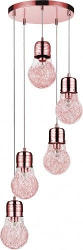 Pięciopunktowa LIndustrialna Lampa wisząca Bulb miedź E27 60W