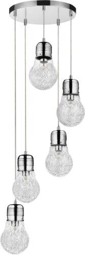 Industrialna pięciopunktowa lampa wisząca Bulb chrom E27 60W