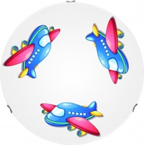 Lampa dla dziecka Samolot - plafon Jet biały/ chrom E27 60W 40cm