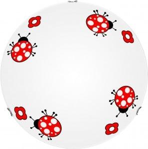 Plafon lampa dziecięca Biedronka - Fly biały/ czerwony 60W E27 40cm