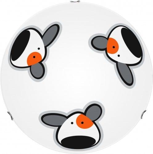 Lampa sufitowa dla dziecka Piesek - plafon Doggy biały/multikolor 60W E27 40cm