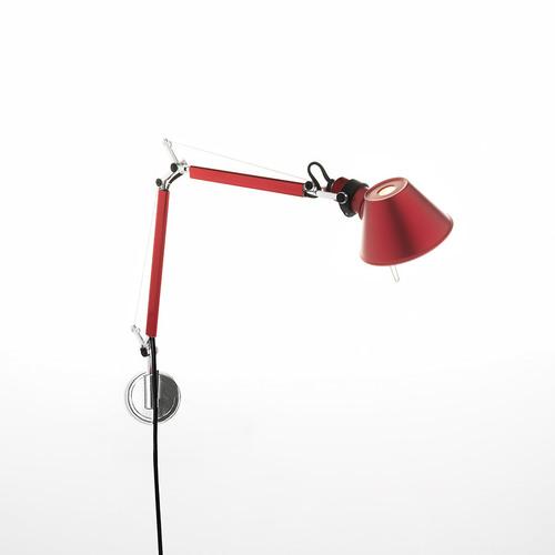 Lampa ścienna Artemide Tolomeo Micro Wall czerwona A010910+A025150