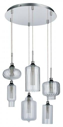 Szesciopunktowa wiszaca lampa larissa chrom transparentny g9 28w l