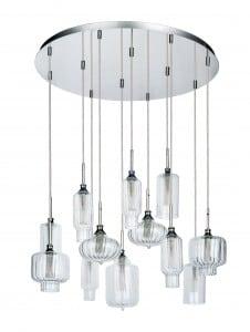 Dwunastopunktowa Lampa wisząca Larissa chrom/ transparentny G9 28W