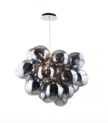 Pomysłowa Lampa wisząca Grape chrom/ szary/ transparentny G9 28W