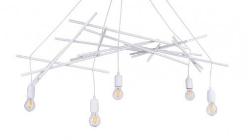 Pięciopunktowa lampa wisząca Glenn biały E27 60W