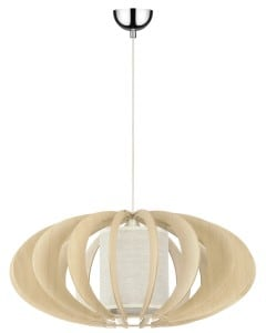 Lampa wisząca Keiko brzoza naturalna/ kremowy E27 60W