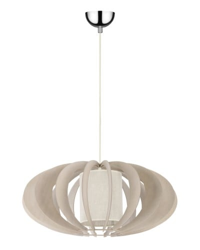 Ekskluzywna Lampa wisząca Keiko brzoza bielona/ kremowy E27 60W
