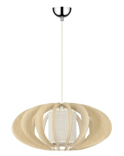 Lampa wisząca Keiko 510 brzoza naturalna/ kremowy E27 60W