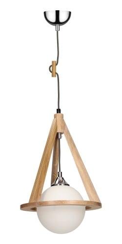 Dębowa lampa wisząca Konan dąb/chrom/antracyt E27 60W