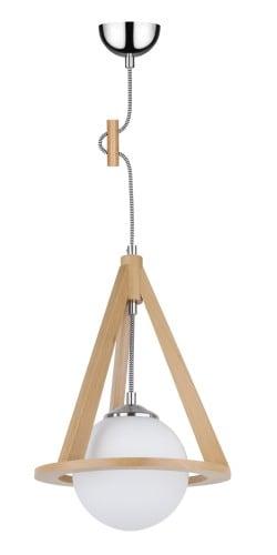 Drewniana lampa wisząca Konan buk/chrom/czarno-biały E27 60W